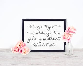 Lumineers - I Belong With You, You Belong With Me - Customized With Names - DIGITAL FILE ONLY