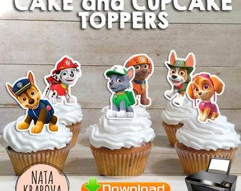 Paw Patrol Cake toppers - 6 files. Paw Patrol Cupcake toppers. Paw Patrol birthday. Paw Patrol party. Paw Patrol fabric. Paw Patrol clipart