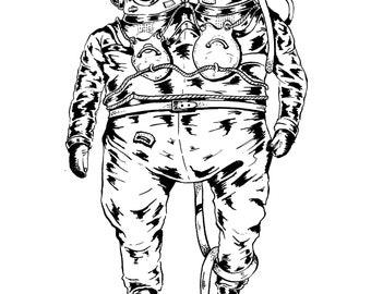 Double-headed deep sea diver / Print