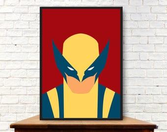 Minimalist Wolverine Poster Minimalist Wolverine Print Wolverine Wall Art Wolverine Gift Wolverine Art Wolverine Wall Decor
