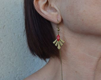 Earrings long, thin red and bronze leaf