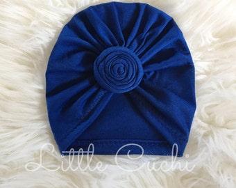 Royal Blue Top Knot Turban