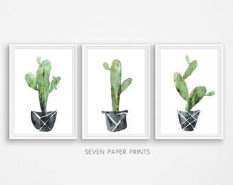 Cactus poster. Triptych wall art. Botanical print. Three piece wall art. Cactus watercolor. Set of 3 prints. Succulent print. Cactus print.