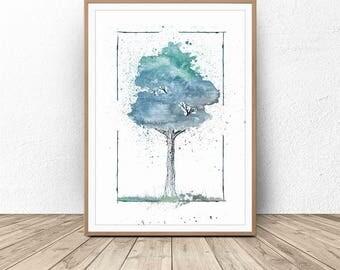Tree Watercolor, Modern Watercolor Art, Nursery Print, Watercolor Wall Art, Blue Tree, Digital print, Afford Downloadable Prints