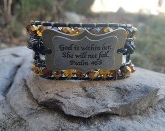 God is within her 4 row leather wrap bracelet