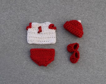 "4 "" In Inch New Art OOAK Boy or Girl Baby Doll Clothes Clothing 5-piece Red & White Christmas Diaper Set Outfit"