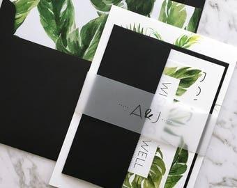Wedding Invitation | Tropical Wedding Invitation Suite | Tropical Invitation | Palm Leaf | Monstera | Banana Leaf | Printed | Avalon