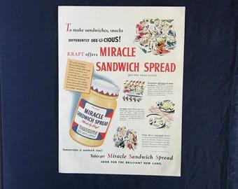 Vintage Kraft Miracle Sandwich Spread Ad