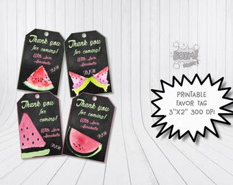 Watermelon favor tags, Watermelon birthday labels, Watermelon printable tags, Watermelon thank you tags, Watermelon party gift tags
