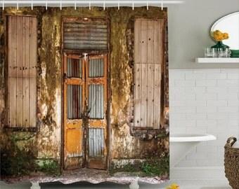 custom shower curtain rustic design