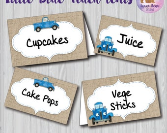 Little Blue Truck Food Tents, Little Blue Truck Party Decoration, Little Blue Truck Birthday Party, Little Blue Truck Name Plates Placecards