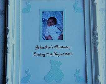Christening, photo frame, personalised picture,  wall hung, personalised, baby boy, baby girl, name ceremony,  girls boys gift, keepsake