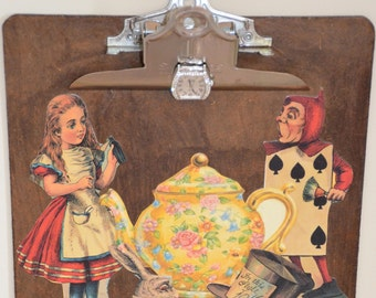 Alice In Wonderland and Tea Time decoupaged clipboard