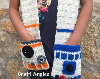 Crochet bb8 scarf, crochet r2d2 scarf, crochet pocket scarf, crochet starwars scarf, crochet scarf for kids, Star Wars scarf, bb8 scarf,