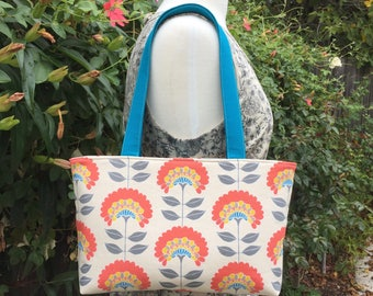 Orange Floral Zippered Shoulder Bag, Tote, Handbag, Purse, Satchel, Pocket Book, Unique Imported Fabric Handmade Zipper Bag
