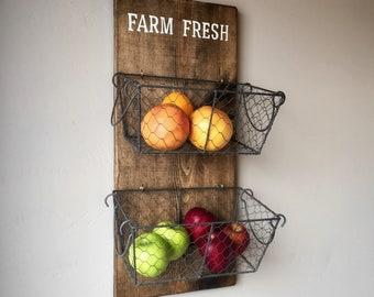 Farm Fresh Produce Basket, Wall Mounted Metal Baskets, Vintage Produce Basket, Chicken Wire Baskets, Farmhouse Storage