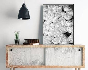 Peony print floral decor, flower still life, black and white floral wall art, large wall art print, peony decor, floral print download