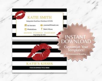 Striped|Red|Gold|Black|LipSense Business Cards|LipSense Business Card Template|Custom LipSense Business Cards|Digital|Branding|INSTANT|Lips