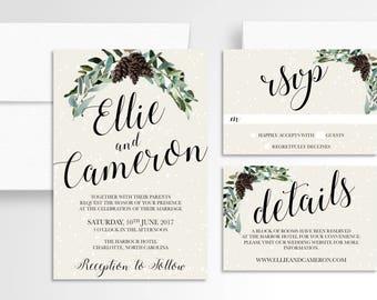 Winter Wedding Invitation // Wedding Invitation Suite // Pinecone Wedding Invitation // Wedding Stationery // Wintery // Snowy