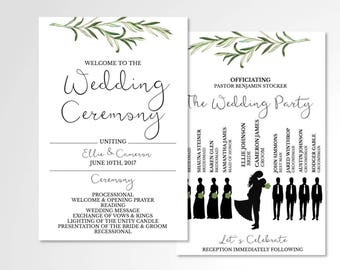Simple Greenery Wedding Program // Custom Program // Wedding Program // Silhouettes // Wedding Stationery // Laurels // Leaves // Branches