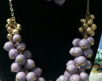 Lilac color cluster bead choker with earrings