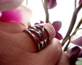 Ring, stainless steel, finger ring, cuts, punching, pattern