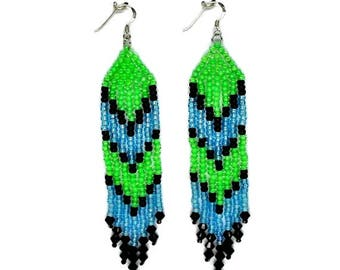 Fringe Earrings - Green/Turquoise/Black