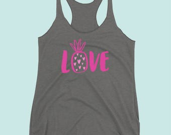 Love Pineapple Tank, Pineapple Shirt, pineapple tank top, pineapple, tropical, Hawaiian, pineapple clothing, summer shirt, beach shirt
