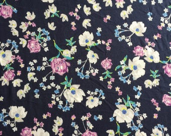 Navy Spring Flowers - French Terry