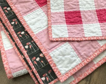 modern baby quilt with matching mini | patchwork gingham quilt | pink baby quilt | toddler quilt | lovey quilt