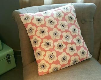 Cushion 40x40cm patterns large vintage floral pink and black