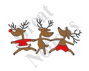Three Dancing Reindeers - Machine Embroidery Design