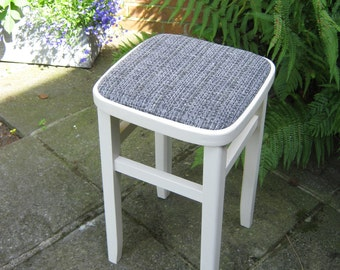 Stool with painted pine frame and upholstered seat