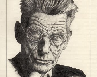 Samuel Beckett Signed & Numbered Limited Edition Mounted Pencil Drawing Irish Art Prints (Edition size of 50)