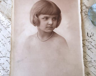 Antique Photo Beautiful young lady 1928 Vintage Photograph RPPC Paper Ephemera Collectible Photo Card Postcard Dedication Memory