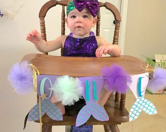 Mermaid High Chair Banner | Smash Cake Banner Prop | Under The Sea Banner | Ombre Mermaid Banner | Mermaid 1st Birthday Banner | One Banner
