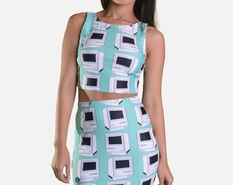 The Debbie Print Skirt - green macintosh inspired print mini skirt made from thick stretch polyester