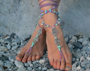 SALES -25% barefoot sandals, beach sandals, foot jewelry ,beach wedding Barefoot sandals, boho shoes gypsy Barefoot Hippie, Foot Jewelry Toe