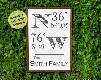 "GPS COORDINATES GIFT, 18"" x 24"", Rustic Anniversary Gift for Him, Wood Latitude Longitude Sign, Coordinate Sign, Last Name Sign rustic decor"