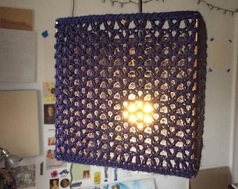 Crochet Cube Pendant Lamp (Color Customizable)
