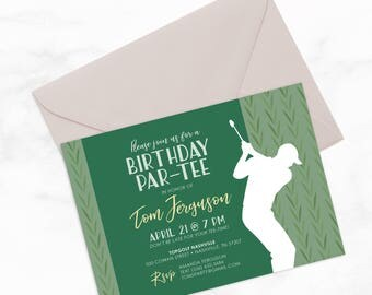 "Golf Birthday Par-Tee by Arbor Grace Collections, 5""x7"" PRINTABLE Invitation, Golf Invitation, Birthday Party"