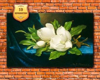 Martin Johnson Heade. Magnolias on a blue velvet cloth. 3D Oil Effect, Art Print, Wall Canvas, Giclee, Reproduction, Luminism