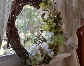 Summer White Hydrangela Grapevine Wreath