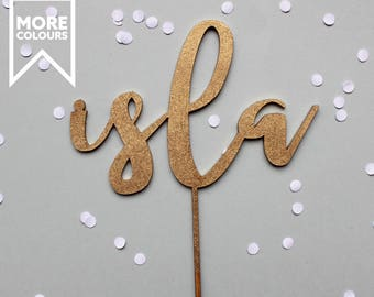 Custom Name Cake Topper, Name Cake Topper, Personalised Cake Topper, Gold Cake Topper, Birthday Cake Topper, Wood Cake Topper, Party Decor