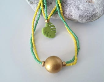 Necklace Tropical Green, Yellow, Gold - Tropical Chic