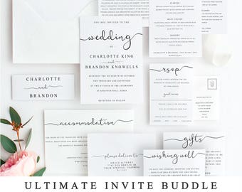 Wedding invitation template etsy ultimate diy wedding invite template bundle of 10 different designs home print wedding invitation template stopboris Choice Image