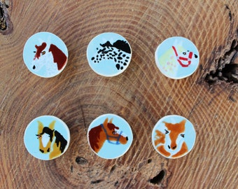 Horse Magnets/Horse Decor/Horse Gifts/Horse Pictures/Horse Painting/Ceramic Magnets/Horse Art/Horse Art/Handcrafted Horse Art/Party Favors