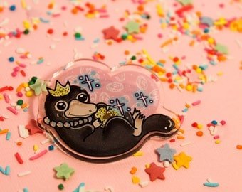 Niffler! - Laser Cut Illustrated Acrylic Brooch - tattoo flash design pin collar clip harry potter fantastic beasts and where to find them