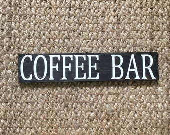 "Coffee Bar Sign | Coffee Bar | Coffee | Wood Coffee Sign | Coffee Sign | Coffee Station Sign | Kitchen Sign 3.5"" x 16.5"""