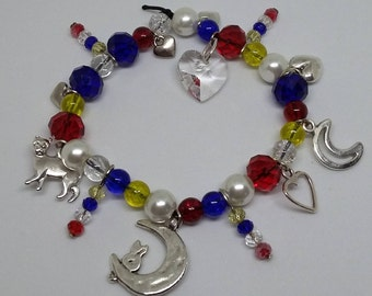 Blue, Red and Yellow Sailor Moon Charm Bracelet